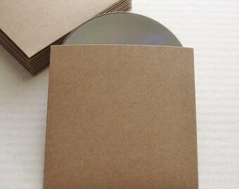 20 Recycled Kraft CD Sleeves No Logo - Wedding Favor, Photography Packaging - DVD, DIY