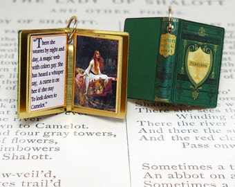 Lady of Shallot by Alfred Tennyson - Miniature Book Shaped Charm Quote Pendant - for charm bracelet or necklace. Custom available!
