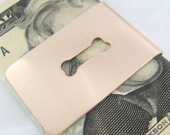 Dog Bone Wide Money Clip Bronze, Dog Lovers Gift, Breeder Accessory, Animal Lovers, Gift for Him, Metal Card Holder, Ready to Ship
