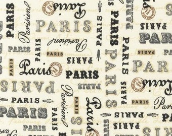 Paris Fabric by Robert Kaufman Paris Script Fonts and Postal Stamps on Ivory Taupe