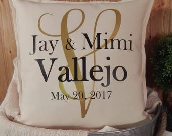 Wedding Gift Pillow, 16x16, Personalized Pillow, Monogrammed Pillow, Pillow Cover, Wedding Gift, Decorative Pillow, Throw Pillow