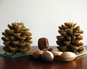 Beeswax pinecone candles / Set of 2 pure french lavender beeswax candles / Rustic woodland home garden decor / Man cave decor / Unisex gift