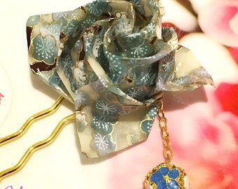Winter Blossom Origami Rose Hair Pin