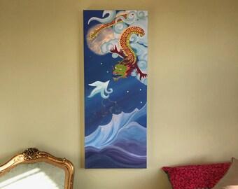 Dragon Dreams Canvas (Hand Embellished Print)