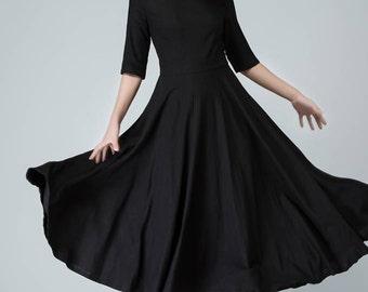 Black dress, linen dress, womens dresses, black dress women, long black dress, boat neck dress, Fit and flare, linen dress woman 1458