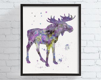 Watercolor Moose, Moose Art, Moose Print, Moose Painting, Moose Poster, Woodland, Forest Animal, Nursery Wall Art, Watercolor Animal, Framed