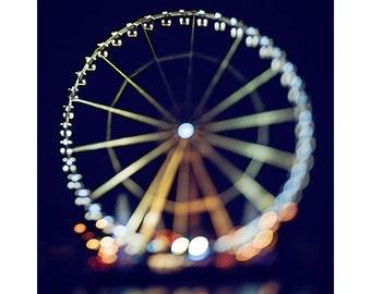 paris photography, ferris wheel print, travel photography, nighttime, tilt-shift, france, paris home decor / la grande roue de paris