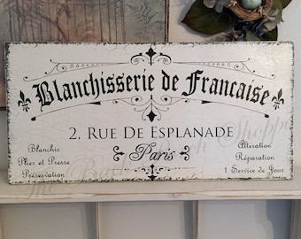 LAUNDRY SIGNS, FRENCH Signs, French Laundry Sign, Bathroom Signs, 12 x 24
