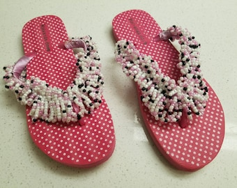 Pink polka dotted slippers, Beaded slippers