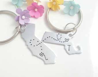 Long Distance Relationship Keychain, Boyfriend gift, Going Away Gift, State Keychain,  Couple Keychains, Personalized Keychains, Couple Gift