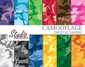 Camouflage Papers, Bright Camo Digital Paper, Military Designs for Invitations, Web Design, Instant Download, Personal and Commersial use