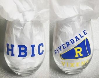 riverdale vixens HBIC stemless wine glass