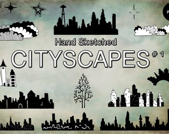 Handsketched Cityscape Clipart Set 1 -Digital Graphics- For Photoshop Illustrator and More- Instant Download - 16 PNG & JPG Files
