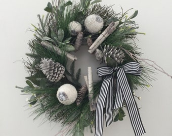 Christmas Wreath Winter Wreath Black and White Striped Ribbon Woodsy Christmas Wreath Evergreen Christmas Wreath Front Door Decor