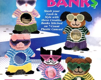 Cool Cash Banks Plastic Canvas Rabbit Dog Cat Pig Bear Needlepoint Embroidery Craft Pattern Leaflet 923713