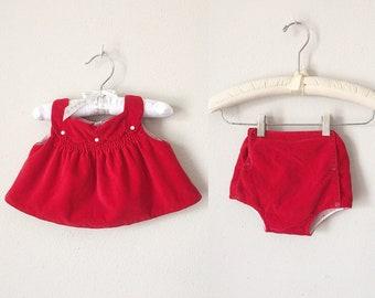 Vintage 50s Baby Dress Set - 1950s 1960s Baby Girl Red Velvet Smocked Dress 2 Piece Set 9 12 Months Winter Christmas Infant
