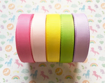 """3/8"""" Unicorn Spring Inspired Solid Grosgrain Ribbon Collection- 5 Yards Each Color, {Hot pink, Light Pink, Yellow, Apple Green, Light Purple"""