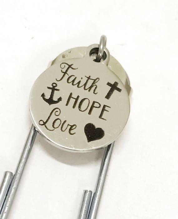 Christian Planner Bookmark, Planner Paper Clip Bookmark, Faith Hope Love Bookmark, Planner Gifts, Christian Gift, Christian Bible Bookmark