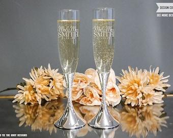 Nambe Tilt Dazzle Personalized Wedding Toasting Flutes (Set of TWO) Custom Engraved Champagne Flutes, Wedding Gift, Engagement Gift