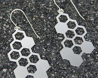 Honeycomb Earrings, hexagon earrings, womens stainless steel jewelry, laser cut earrings, simple earrings, geometric earrings, dangle