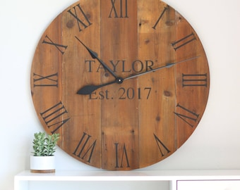 "25""/30"" - Wedding gift - Custom - Large wooden wall clock - Personalized clock - Customized clock - Family gift - Wall hanging"