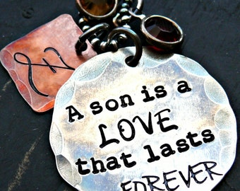 Hand Stamped Mother Son Personalized Necklace