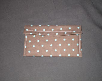 Brown and tourquoise polka dot wallet
