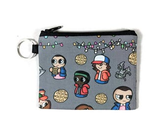 Stranger Things Coin Purse, Mini Zipper Pouch, Coin Pouch, Earbud Holder, change Purse, bridesmaid gift, coin pouch keychain