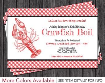 Crawfish Boil Invitation | Crawfish Boil Birthday Invitations