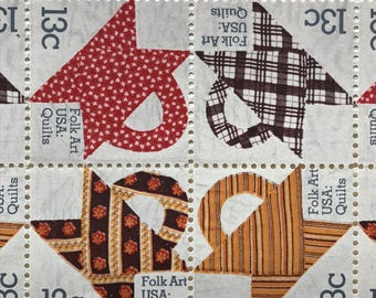 12 Folk Art:Quilts Stamps 13c // Vintage Postage // #1745-1748