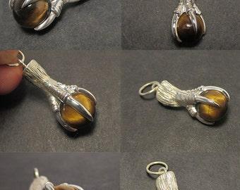 Eagle claw pendant - Tigers eye gem sphere - Sterling silver