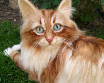 Artist Cat/ Collectible/ Needle Felted/Cutest playful Maine Coon kitten/ Life-Size/ OOAK