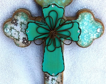 CLEARANCE - Aqua Multi Print Cross