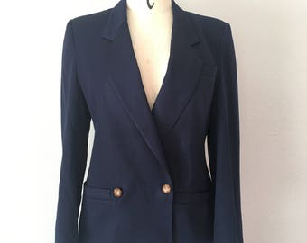 Vintage 80s Alfred Sung Navy Double Breasted Broad Shoulder Blazer
