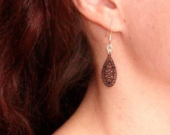 Dangle drop earrings black filigree 925 Silver