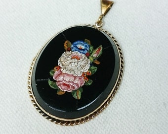 Lovely Floral Micro Mosaic Pendant, Italy, Grand Tour, Souvenir Jewelry