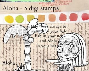 Aloha - whimsical hula gal digi stamp set bundle available for instant download