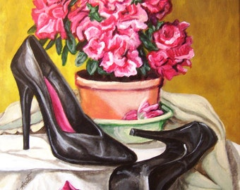 Azalée avec chaussures 11 x 14 acrylique nature morte