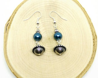 Lightweight Silver and Blue Pearl Dangle Earrings