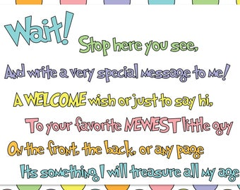 Guest Book Sign In - Baby Shower or Bridal Shower - Dr. Seuss Theme