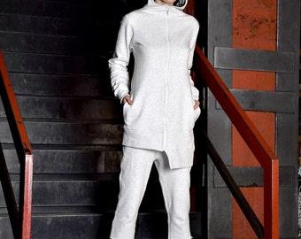 Gray Sweatshirt, Asymmetric Sweatshirt, Warm Sweatshirt, Sport coat, Activewear, white blazer by UrbanMood - UM-098-QC