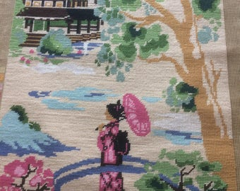 Vintage large needlepoint Asian, Oriental needlepoint, girl in kimono with parasol, finished part is 15 1/2  by 29 inches