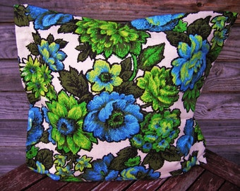 Flower pattern Pillow Cover, Throw pillow 16*16 Inch, Decorative Pillow, Handmade Customizable Cushion, Cottage Decor, Re Used
