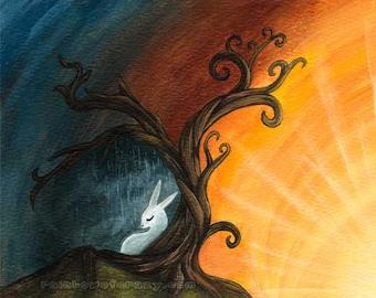 Tree of Life Art, White Rabbit, Custom Print Size, Nursery Wall Decor, Sunrise Artwork, Rainy Day Picture, Animal Wall Art, Pet Owner Gift