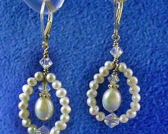 Freshwater Pearl Open Teardrop Style Earrings with Swarovski Crystal