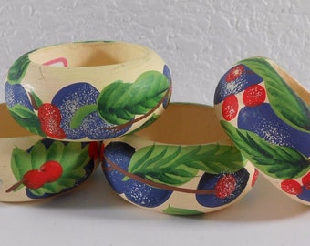 Vintage Audrey Wood Napkin Rings Set of 4 Blueberry Cherry Wooden Painted Berries Green Leaves