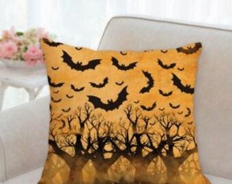 Rustic Orange Halloween Pillow