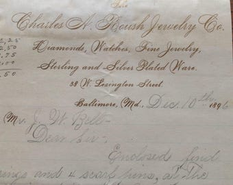 """Vintage """"Charles A. Roush Jewelry Co."""" 1896 Baltimore Maryland    Bill of Sale"""