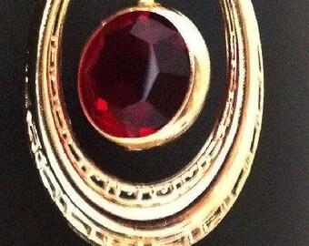 Designer Handmade Siam Red Swarovski Channel Earrings , 18k Gp