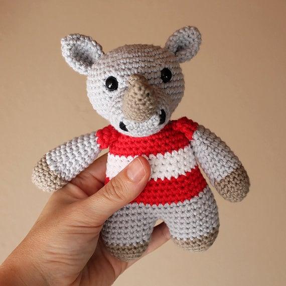 Rhino - Animalius. Crochet Doll, Amigurumi Toy, Crocheting, Made to Order, Animal Crochet, Cute Children Gift, Nursery Doll, DIY, Art Crafts